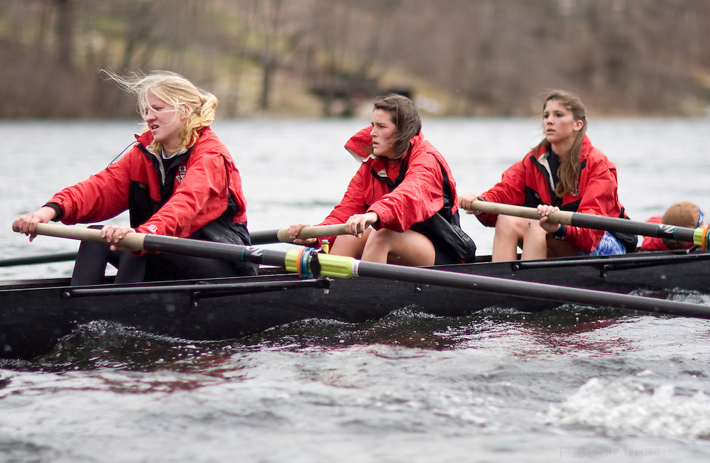 POMFRET, CONNECTICUT- APRIL 2009: The Pomfret School. Girls Crew. Spring 2009. (Photo by Robert Falcetti - www.robertfalcetti.com). .