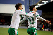 Plymouth midfielder Rúben Lameiras (11) celebrates his goal with Plymouth defender Gary Sawyer (3) 0-1 during the EFL Sky Bet League 1 match between Peterborough United and Plymouth Argyle at London Road, Peterborough, England on 2 February 2019.