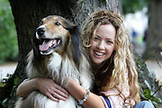 "15/8/2005.CANINES ARE A GIRL'S BEST FRIEND!!!..Actress Lisa Lambe out for an amble with her doggy friend Rebel, gets some canine advice in advance of her role in ""Dog Show"" opening tomorrow night at the Watergate Theatre, Kilkenny (Tues 16) as part of the Kilkenny Arts Festival....Picture Dylan Vaughan."