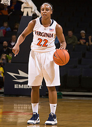 Virginia forward Monica Wright (22) in action against WFU.  The #15 ranked Virginia Cavaliers defeated the Wake Forest Demon Deacons 77-59 in NCAA Women's Basketball at the John Paul Jones Arena on the Grounds of the University of Virginia in Charlottesville, VA on January 11, 2009.