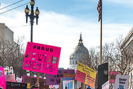 "San Francisco, USA. 19th January, 2019. The Women's March San Francisco sets out from  Civic Center Plaza in front of City Hall. Assorted signs above the crowd include: ""Proud Jewish Feminist"" and ""We are Intersectional Feminists."" Credit: Shelly Rivoli/Alamy Live News"