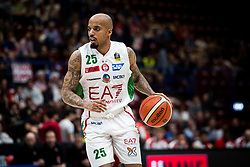 April 29, 2018 - Milan, Milan, Italy - Jordan Theodore (#25 EA7 Emporio Armani Milano) drives to the basket during a basketball game of Poste Mobile Lega Basket A between  EA7 Emporio Armani Milano vs VL Pesaro at Mediolanum Forum, in Milan, Italy, on April 29, 2018. (Credit Image: © Roberto Finizio/NurPhoto via ZUMA Press)