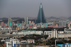 A general view of the the city with the Ryugyong Hotel at the back in Pyongyang, North Korea, 12 April 2017. North Koreas prepare to celebrate the 'Day of the Sun Festival', 105th birthday anniversary of former North Korean supreme leader Kim Il-sung in Pyongyang on 15 April.