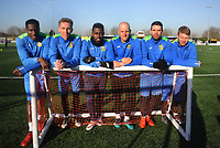 Football - 2016 / 2017 FA Cup - Sutton United training pre Third Round<br /> <br /> Sutton players after training at Gander Green Lane.<br /> l-r Afolabi Coker, Adam May, Bradley Hudson - Odoi, Nicky Bailey, Dan Fitchett, Tommy Wright.<br /> <br /> COLORSPORT/ANDREW COWIE
