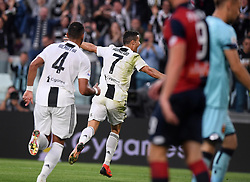 TURIN, Oct. 21, 2018  Juventus' Cristiano Ronaldo (2nd L) celebrates his goal during an Italian Serie A soccer match between FC Juventus and Genoa in Turin, Italy, Oct. 20, 2018. The match ended 1-1. (Credit Image: © Alberto Lingria/Xinhua via ZUMA Wire)