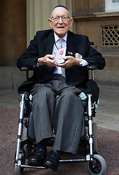 101 year-old Lieutenant Colonel Mordaunt Cohen MBE after his investiture by HM The Queen at Buckingham Palace. London, June 01 2018.