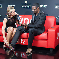 NFL Player A J Green being interviewed by NFL networks Alex Flanagan at the Mahalia Jackson Theatre NFL Honors in New Orleans, Louisiana on Feb.2 2013.