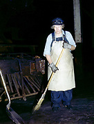 "Fascinating Color Portrait Photos of Women Railroad Workers During WWII<br /> <br /> World War II began when Hitler's army invaded Poland on September 1, 1939. However, it wasn't until the day after the Japanese attacked Pearl Harbor on December 7, 1941, that the United States declared war on the Axis Powers.<br /> <br /> The railroads immediately were called upon to transport troops and equipment heading overseas. Soon the efforts increased to supporting war efforts on two fronts-- in Europe and in the Pacific.<br /> <br /> Prior to the 1940s, the few women employed by the railroads were either advertising models, or were responsible primarily for cleaning and clerical work. Thanks to the war, the number of female railroad employees rose rapidly. By 1945, some 116,000 women were working on railroads. A report that appeared on the 1943 pages of Click Magazine regarding the large number of American women who had stepped forward to see to it that the American railroads continued to deliver the goods during the Second World War:<br /> <br />     ""Nearly 100,000 women, from messengers aged 16 to seasoned railroaders of 55 to 65, are keeping America's wartime trains rolling. So well do they handle their jobs that the railroad companies, once opposed to hiring any women, are adding others as fast as they can get them...""<br /> <br /> In April 1943, Office of War Information photographer Jack Delano photographed the women of the Chicago & North Western Railroad roundhouse in Clinton, Iowa, as they kept the hulking engines cleaned, lubricated and ready to support the war effort.<br /> <br /> Photo shows: Mrs. Elibia Siematter, a sweeper at the roundhouse.<br /> ©Library of Congress/Exclusivepix Media"