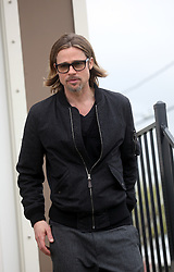 09 March 2012. New Orleans, Louisiana USA. <br /> Brad Pitt revisits his 'Make it Right' Foundation homes in the Lower 9th ward where he was interviewed by Ellen Degeneres.<br /> Photo Credit; Charlie Varley