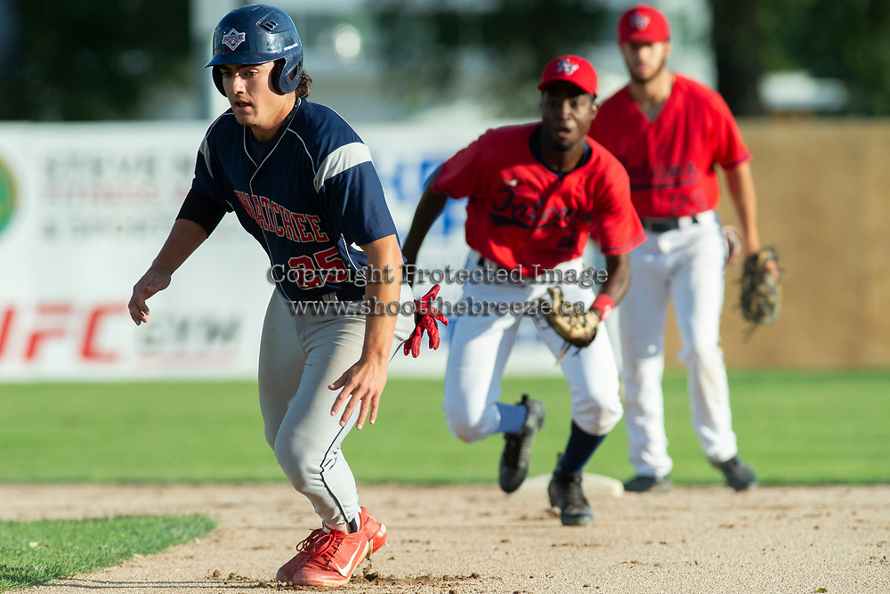 KELOWNA, BC - JULY 17: Blake Klassen #25 of the Wenatchee Applesox returns to first from an attempted steal to second as Richi Sede #4 of the Kelowna Falcons runs him back at Elks Stadium on July 17, 2019 in Kelowna, Canada. (Photo by Marissa Baecker/Shoot the Breeze)