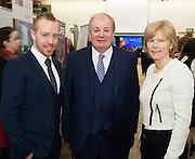 Michael Smyth , General Manager SCCUL Entrepises with  Celebrity Judge Gavin Duffy and Dr. Emer Mulligan NUIG at the The SCCUL Entreprise awards and Business Expo in the Bailey Allen Hall in NUIG. Photo:Andrew Downes, xposure