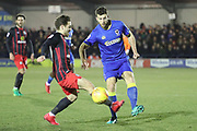 AFC Wimbledon defender Jon Meades (3) clearing the ball during the EFL Sky Bet League 1 match between AFC Wimbledon and Blackburn Rovers at the Cherry Red Records Stadium, Kingston, England on 27 February 2018. Picture by Matthew Redman.