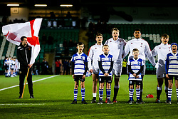 Sam Maunder, Richard Capstick adn Rusiate Tuima as England U20 line up for the national anthem - Rogan/JMP - 21/02/2020 - Franklin's Gardens - Northampton, England - England U20 v Ireland U20 - Under 20 Six Nations.