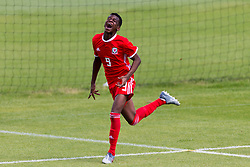 WREXHAM, WALES - Thursday, August 15, 2019: Wales' Japhet Matondo celebrates scoring the third goal during the UEFA Under-15's Development Tournament match between Wales and Northern Ireland at Colliers Park. (Pic by Paul Greenwood/Propaganda)