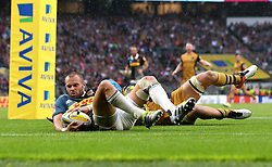 Ross Chisholm of Harlequins saves his side conceding a try - Mandatory by-line: Robbie Stephenson/JMP - 03/09/2016 - RUGBY - Twickenham - London, England - Harlequins v Bristol Rugby - Aviva Premiership London Double Header