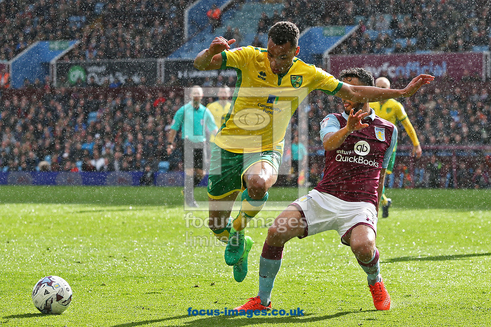 Jacob Murphy of Norwich and Neil Taylor of Aston Villa in action during the Sky Bet Championship match at Villa Park, Birmingham<br /> Picture by Paul Chesterton/Focus Images Ltd +44 7904 640267<br /> 01/04/2017