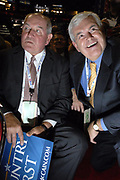 Gov. Sonny Perdue and former Georgia Congressman Newt Gingrich on the floor of the Republican National Convention in St. Paul, Minn., in early September.