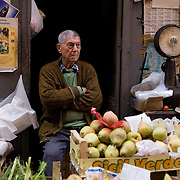 Fruit and vegetable seller at Vucciria Market, Palermo, Sicily, Italy