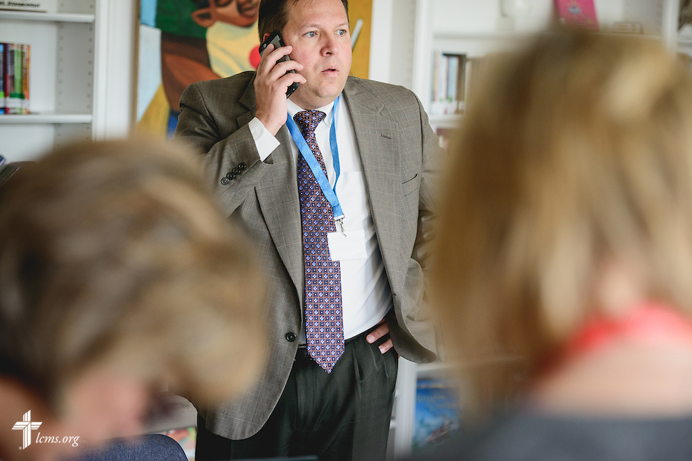 Alan Freeman, Assistant to the President for Lutheran Schools at LCMS Missouri District, takes a phone call during accreditation at River Roads Lutheran School on Monday, Oct. 3, 2016, in St. Louis. LCMS Communications/Erik M. Lunsford