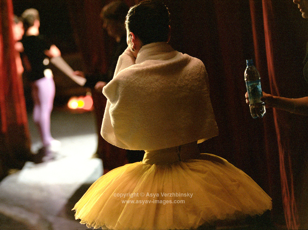 Miyako Yoshida waiting for her curtain call after Scenes de Ballet. Bolshoi Theatre, Russia