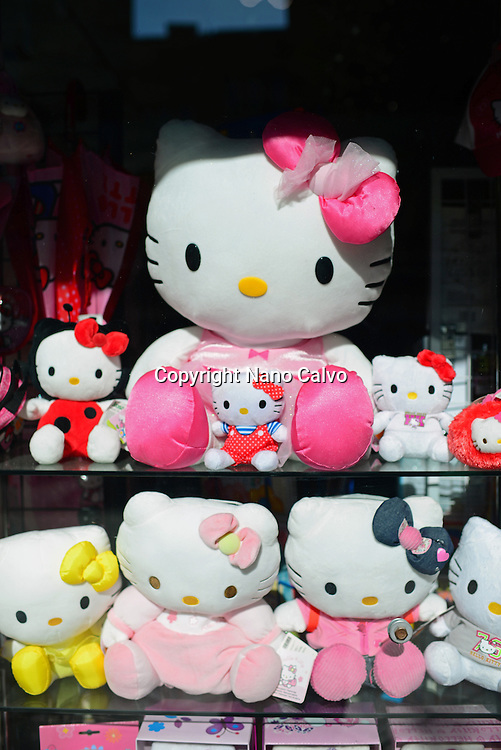 Hello Kitty merchandising at shop display window