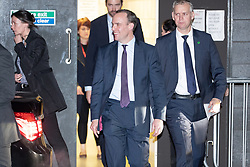 © Licensed to London News Pictures. 19/11/2019. Salford, UK. DOMINIC RAAB leaves after the event . A protest takes place outside the venue . Conservative Party leader Boris Johnson and Labour Party leader Jeremy Corbyn attend a televised election hustings at ITV Studios at Media City as part of their respective campaigns to win the upcoming general election and become the next British Prime Minister . Photo credit: Joel Goodman/LNP