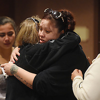 Susan Becker is embraced by Tamme Williams after Mary Beth Jennewein's sentencing on Wednesday at the Minnehaha County Courthouse. Jennewein was sentenced to 25 years in prison for the death of 2-year-old Miles Stead.