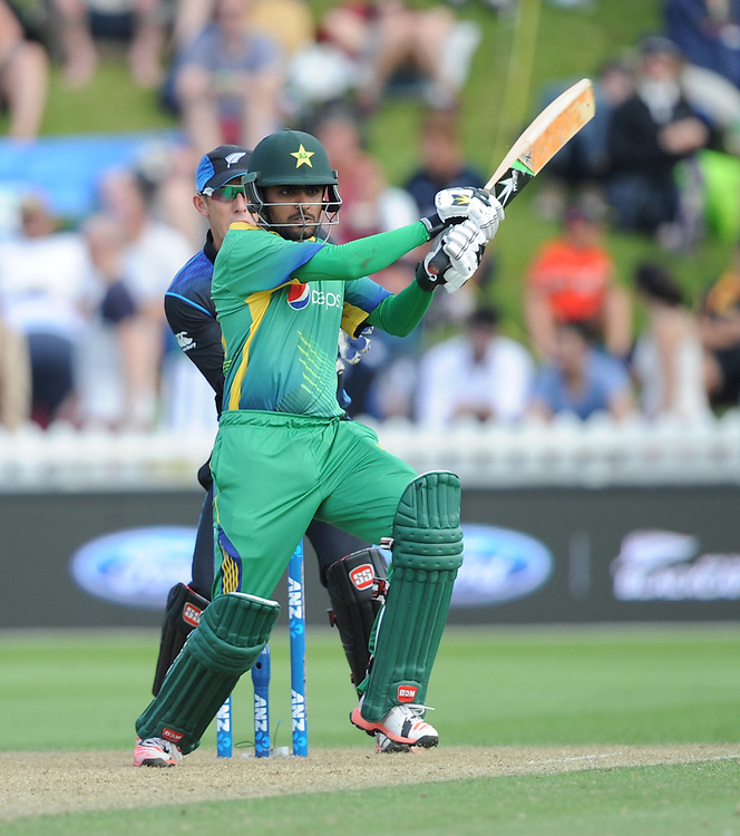 Pakistan's Babar Azam bats against New Zealand in the 1st ODI International Cricket match at Basin Reserve, Wellington, New Zealand, Monday, January 25, 2016. Credit:SNPA / Ross Setford