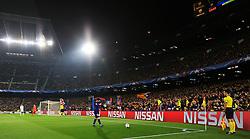 Lionel Messi of Barcelona adjusts his captains armband before taking a corner - Mandatory by-line: Matt McNulty/JMP - 14/03/2018 - FOOTBALL - Camp Nou - Barcelona, Catalonia - Barcelona v Chelsea - UEFA Champions League - Round of 16 Second Leg