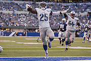 September 11, 2016: Detroit Lions running back Theo Riddick (25) runs in after a touchdown during the week 1 NFL game between the Detroit Lions and Indianapolis Colts at Lucas Oil Stadium in Indianapolis, IN.  (Photo by Zach Bolinger/Icon Sportswire)