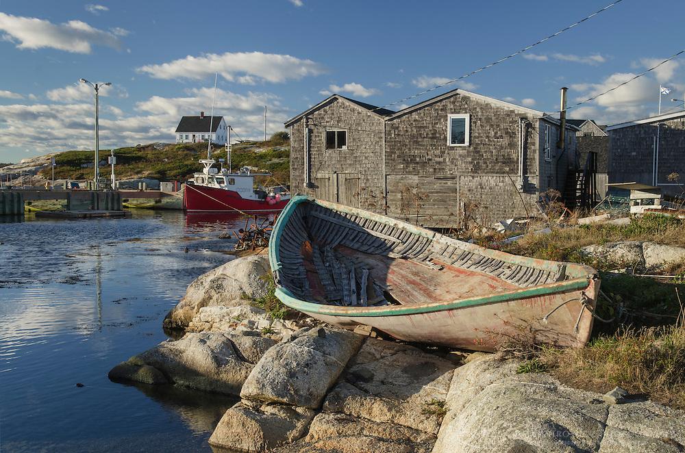 Derelict dory and fisherman's shacks at Peggy's Cove Nova Scotia