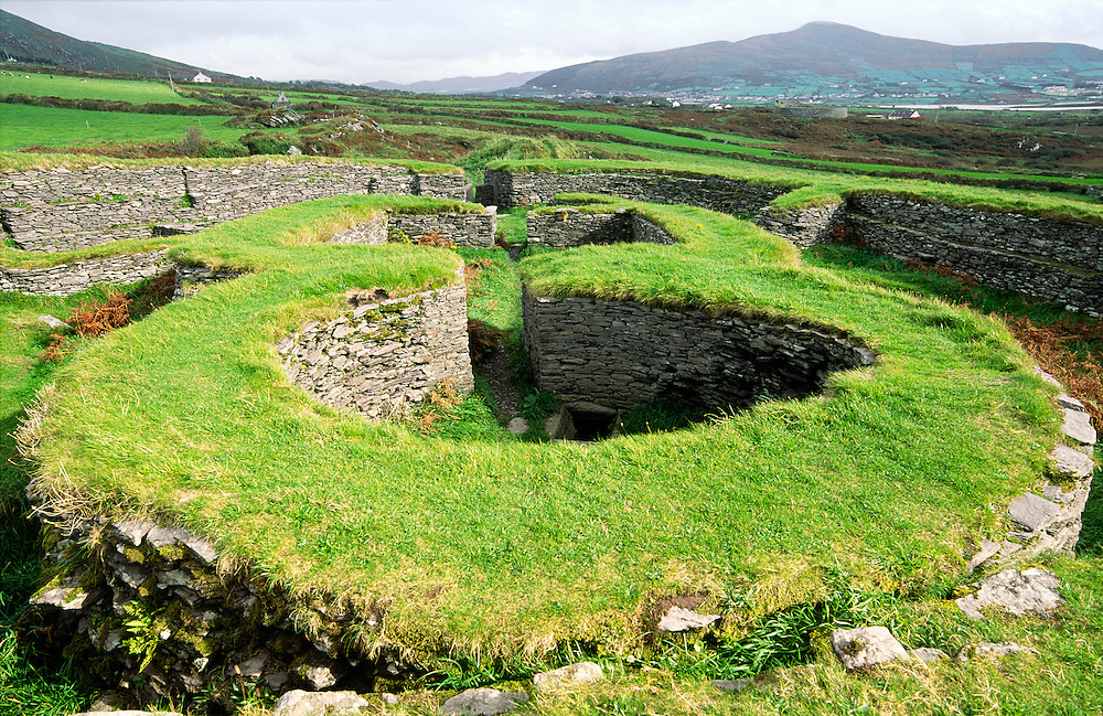 Leacanbuaile early Mediaeval stone fort fortified settlement near Cahirciveen, Co. Kerry, Ireland. Interior clochan houses