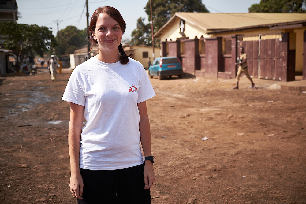 MSF Health Promotion Manager Laurelie Di Filippantonio at the MSF mobile clinic in the neighbourhood of Tombolia, Conakry, Guinea on March 18, 2016. MSF launched a HIV testing campaign in Conakry with the support of health authorities moving throughout several neighbourhoods throughout 2016.<br /> <br /> &quot;It's the firs time MSF is doing this type of campaign for the general population and key population groups who are higher risk such as sex workers, gay men, transgenders, drug users and prisoners. More specifically in Guinea the high risk group includes soldiers, truck drivers and fishermen. There is a lot of stigmatisation surrounding HIV in Guinea so community health workers are engaged with the population undertaking awareness programs on HIV transmission and treatment. The community aspect is priority, it's very important to engage with community leaders from the beginning to reach the population.&quot;<br /> <br /> Despite countries in West and Central Africa having a relatively low HIV prevalence (