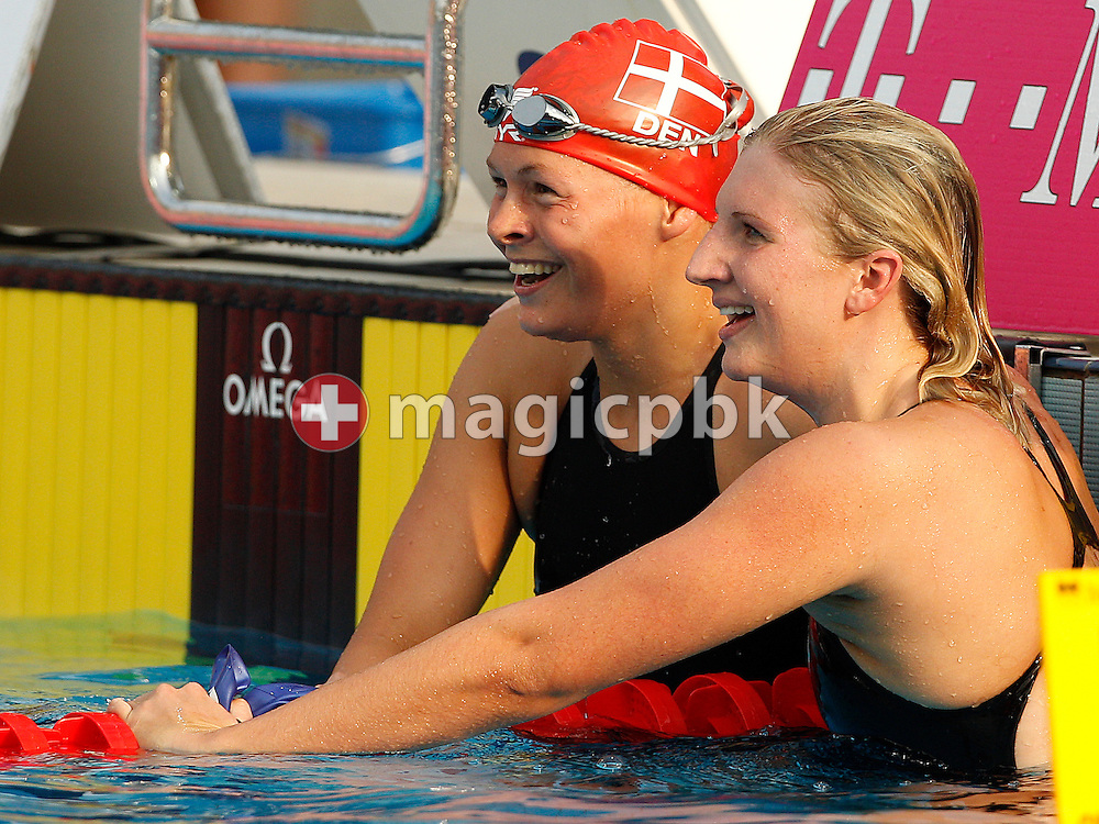 Winner Rebecca ADLINGTON (R) of Great Britain and third placed Lotte FRIIS of Denmark smile after competing in the women's 400m Freestyle Final at the European Swimming Championship at the Hajos Alfred Swimming complex in Budapest, Hungary, Sunday, Aug. 15, 2010. (Photo by Patrick B. Kraemer / MAGICPBK)