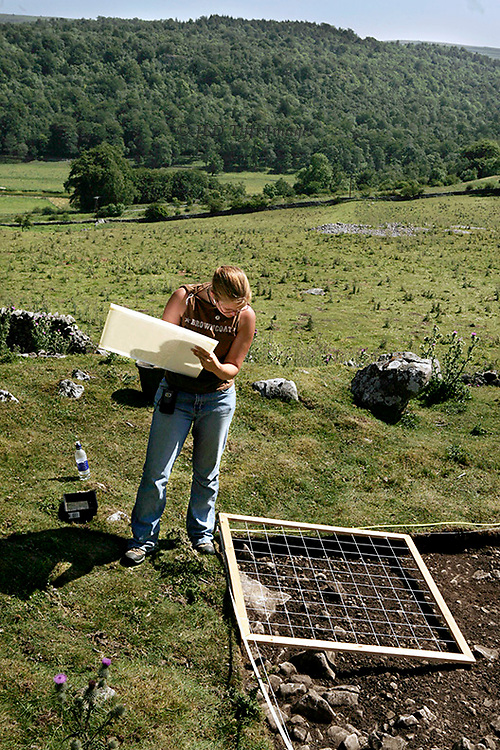 Young woman, an Earthwatch volunteer, makes a measured drawing through a grid laid on a corner of an excavation site.  Yorkshire moor and forest visible beyond.