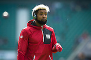 Wide receiver Odell Beckham Jr of the New York Giants warms up at Twickenham, during the International Series match between New York Giants and Los Angeles Rams at Twickenham, Richmond, United Kingdom on 23 October 2016. Photo by Jason Brown.