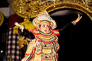 A male Legong dancer performs the Baris war dance at the Monkey Forest Temple in Ubud, Bali, Indonesia, Southeast Asia
