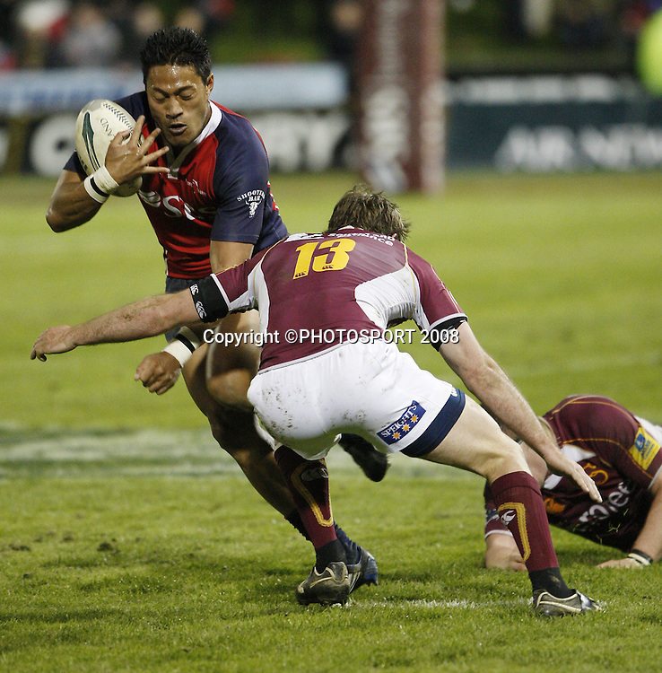 Afeleki Pelenise tries to break through the Southland defence. Tasman v Southland. Air New Zealand Cup rugby match. Lansdowne Park, Blenheim. Friday 19 September 2008. Photo: PHOTOSPORT