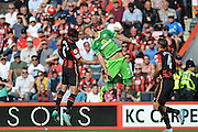 AFC Bournemouth's midfielder Andrew Surman and Sunderland AFC midfielder Ola Toivonen jump to head the ball during the Barclays Premier League match between Bournemouth and Sunderland at the Goldsands Stadium, Bournemouth, England on 19 September 2015. Photo by Mark Davies.