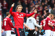 Gareth Ainsworth , Manager of Wycombe Wanderers gives thumbs up to the home support after the Sky Bet League 2 match at Adams Park, High Wycombe<br /> Picture by David Horn/Focus Images Ltd +44 7545 970036<br /> 18/04/2014