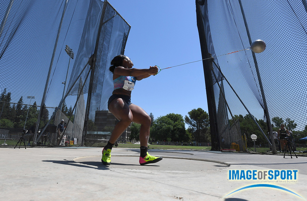 Jun 25, 2017; Sacramento, CA, USA; Gwen Berry wins the women's hammer with a throw of 245-3 (74.77m) during the USA Track and Field Championships at Hornet Stadium.