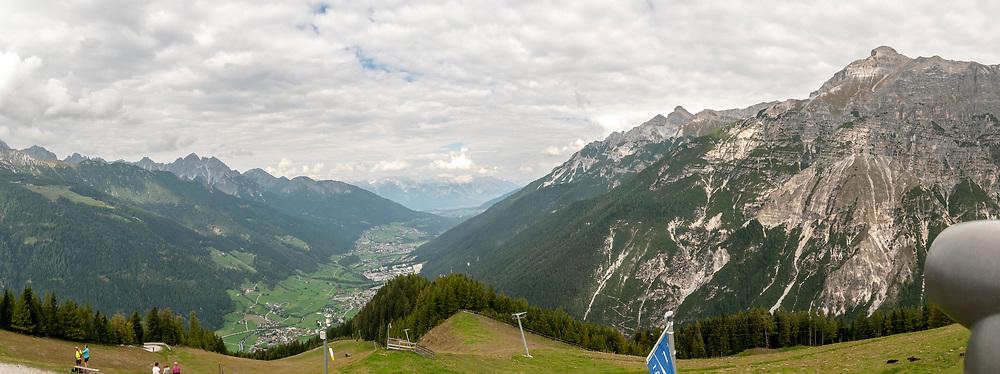 Neustift im Stubaital and Stubai Valley as seen from the summit of Elfer Mountain, Tyrol, Austria