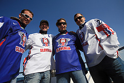 Poloncic (18), Golicic (17), Rebolj (27) and Razingar at whale watching boat when they were celebrating an aniversary of playing for Slovenian National Team for 100 (120) times, during IIHF WC 2008 in Halifax,  on May 07, 2008, sea at Halifax, Nova Scotia,Canada.(Photo by Vid Ponikvar / Sportal Images)