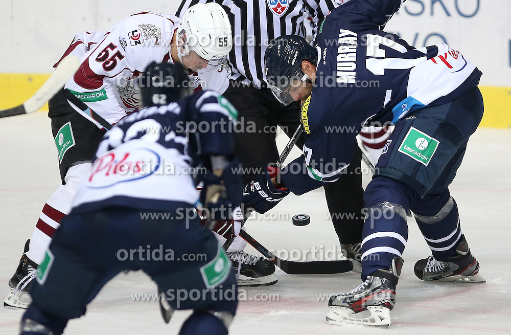 03.10.2014, Dom Sportova, Zagreb, CRO, KHL League, Medvescak vs Dinamo Riga, 13. Runde, im Bild Linus Videll, Andrew Murray // during the Kontinental Hockey League 13th round match between Medvescak and Dinamo Riga at the Dom Sportova in Zagreb, Croatia on 2014/10/03. EXPA Pictures &copy; 2014, PhotoCredit: EXPA/ Pixsell/ Igor Kralj<br /> <br /> *****ATTENTION - for AUT, SLO, SUI, SWE, ITA, FRA only*****