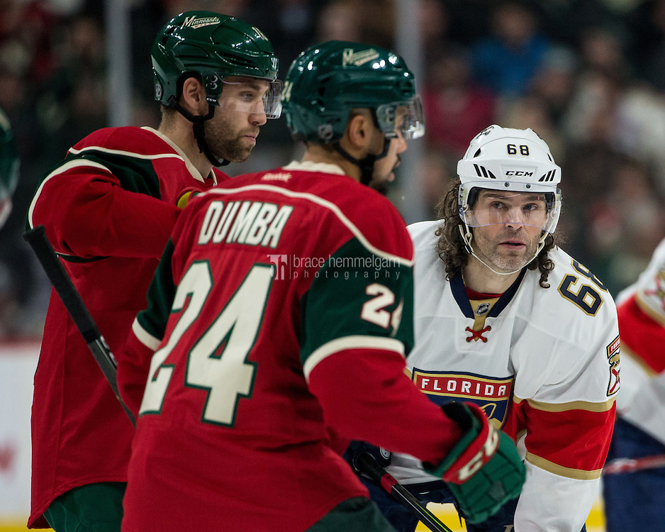 Dec 13, 2016; Saint Paul, MN, USA; Florida Panthers forward Jaromir Jagr (68) looks on during the first period against the Minnesota Wild at Xcel Energy Center. The Wild defeated the Panthers 5-1. Mandatory Credit: Brace Hemmelgarn-USA TODAY Sports