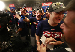 September 27, 2017 - St. Louis, MO, USA - The Chicago Cubs celebrate their team's division clinch with a win over the St. Louis Cardinals on Wednesday, Sept., 27, 2017 at Busch Stadium in St. Louis, Mo. (Credit Image: © Nuccio Dinuzzo/TNS via ZUMA Wire)