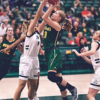 2nd year forward, Macaela Crone (8) of the Regina Cougars during the Women's Basketball Home Game on Sat Nov 03 at Centre for Kinesiology,Health and Sport. Credit: Arthur Ward/Arthur Images