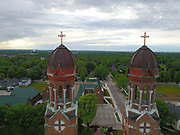 Aerial view of St. Francis Xavier Cathedral in Green Bay, Wis. (Sam Lucero photo)