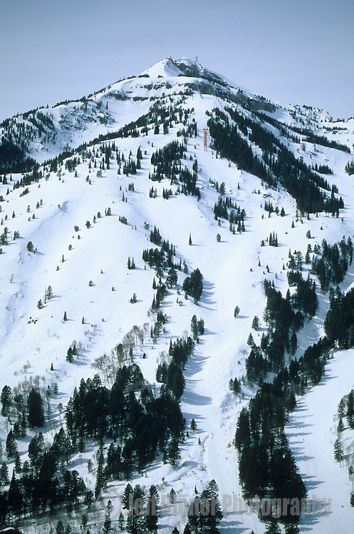 An aerial view of the Jackson Hole Mountain Resort in Jackson Hole, Wyoming.