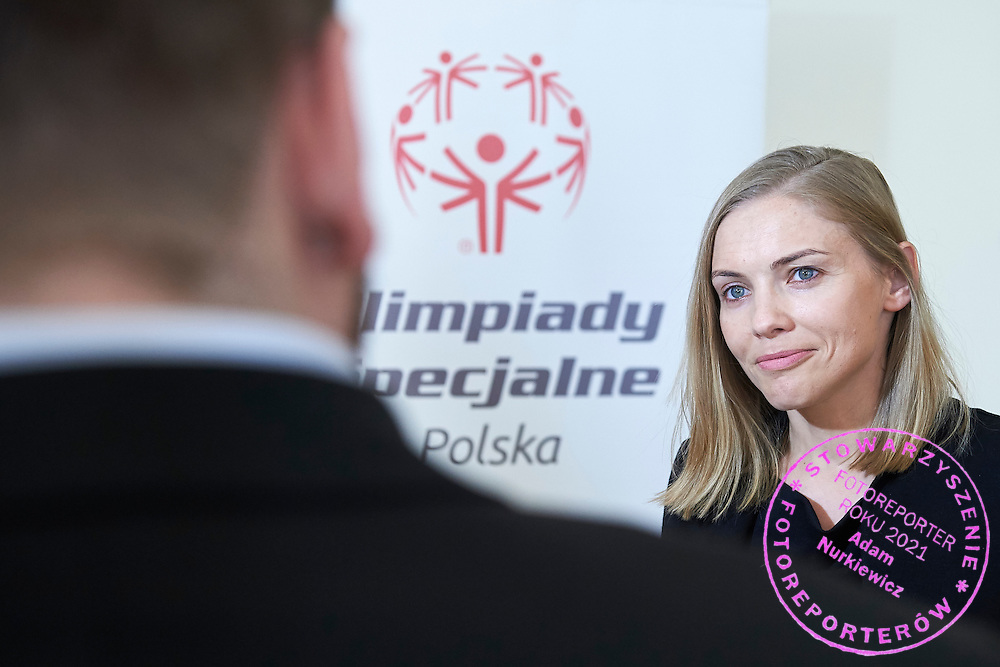 Kinga Baranowska - Polish mountaineer and Special Olympics Ambassador speaks while her TV interview during 30 years anniversary of The Special Olympics Poland at Presidential Palace in Warsaw on March 18, 2015.<br /> <br /> Poland, Warsaw, March 18, 2015<br /> <br /> For editorial use only. Any commercial or promotional use requires permission.<br /> <br /> Mandatory credit:<br /> Photo by &copy; Adam Nurkiewicz / Mediasport